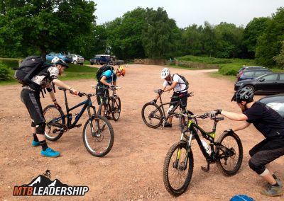 Pre-ride checks on a British Cycling MTB Leadership Level 2 Course