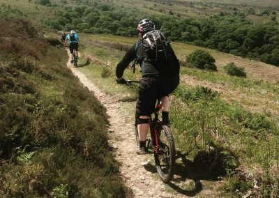 Mountain Bike leading on a Level 2 MTB Leadership course on Exmoor